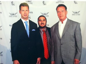 "Denny (Centre) with his coach JT Foxx and ""Arnie"""