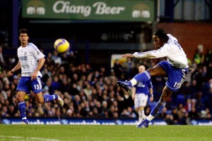Didier Drogba scores for Chelsea against Everton